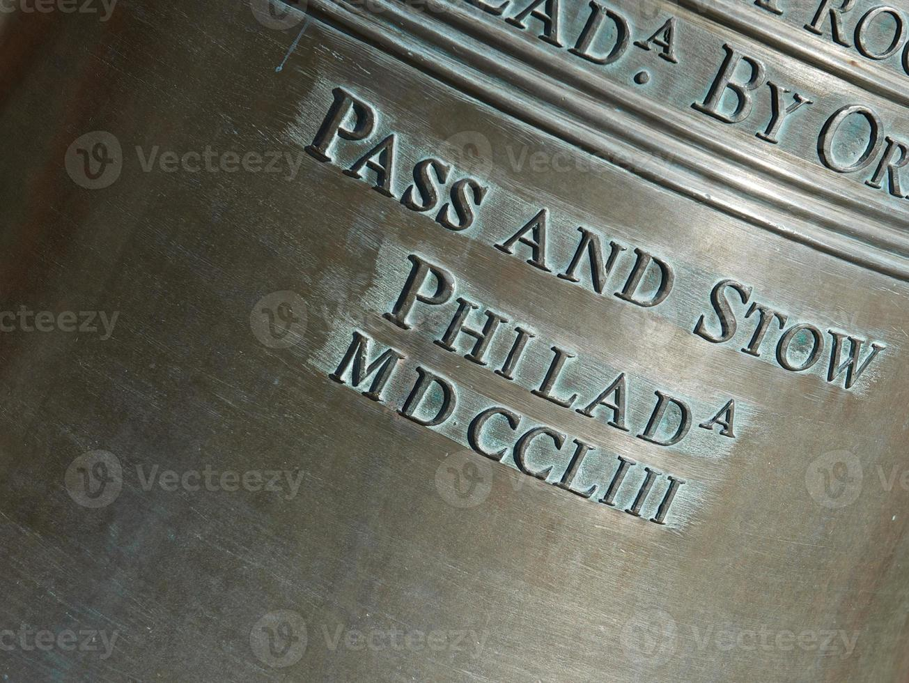 Lettering on the Liberty Bell photo