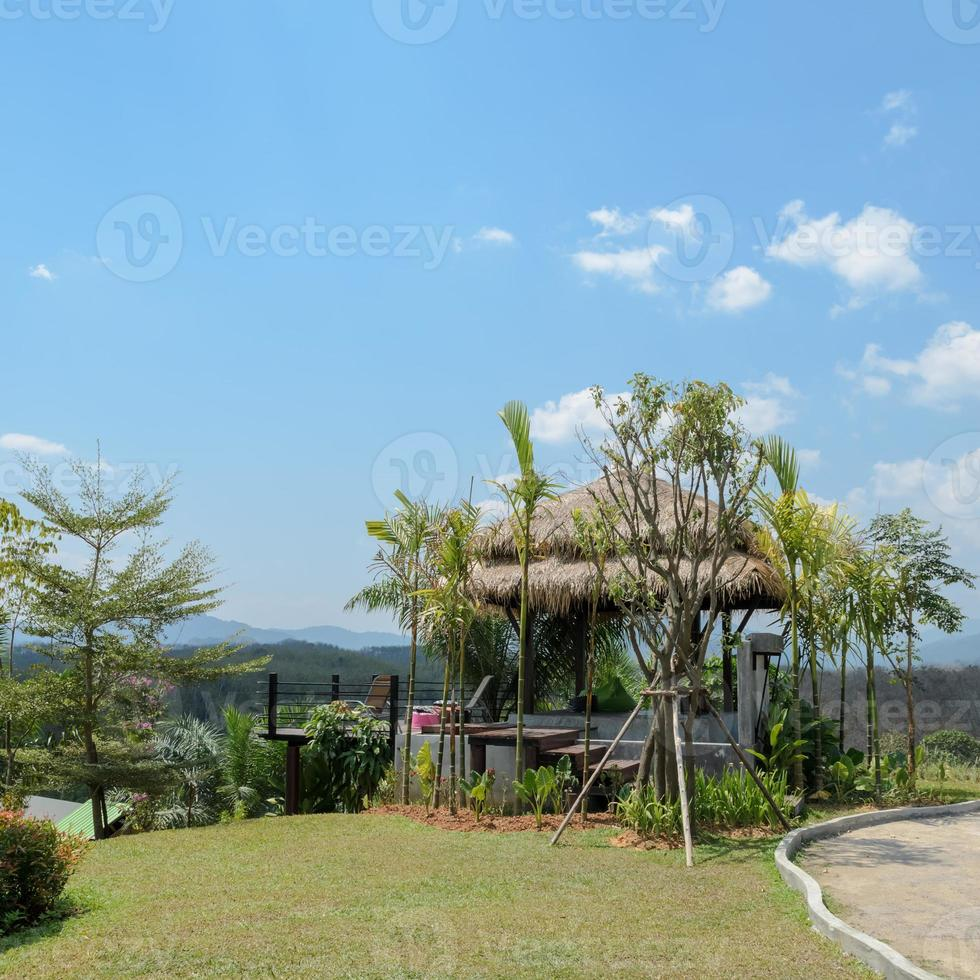 Outdoor patio with mountain view in Thailand photo