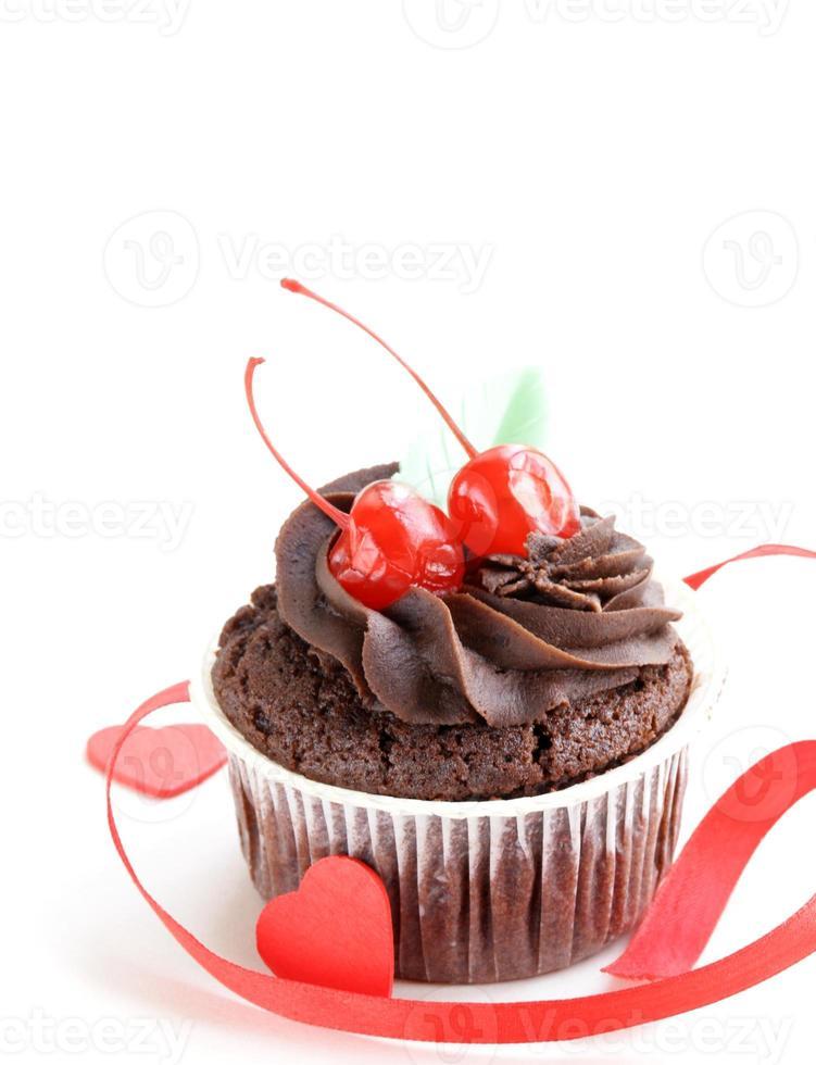 festive (birthday, valentines day) chocolate cupcake photo