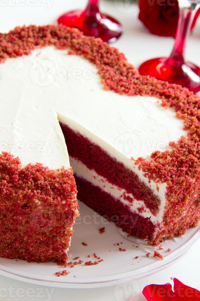 """Cake """"Red Velvet"""" in the form of heart. Valentine's Day. photo"""
