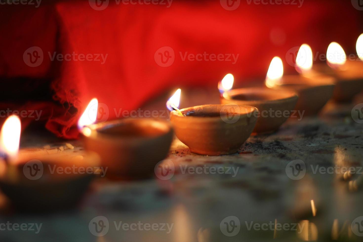 oil lamps on diwali festival photo