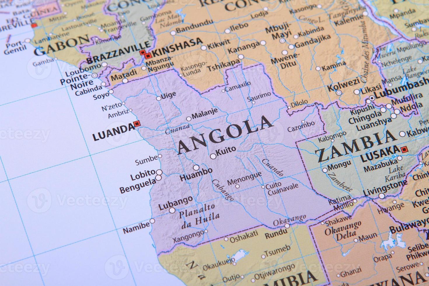 Angola en el mapa foto