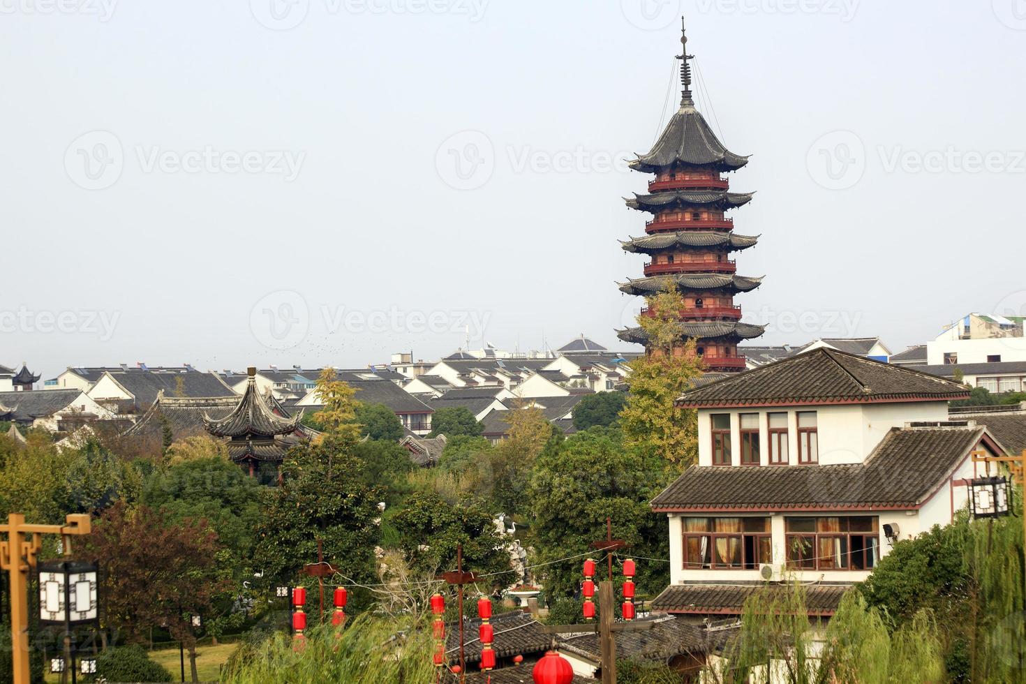 Ancient Chinese Ruigang Pagoda Rooftops Apartments Suzhou China photo
