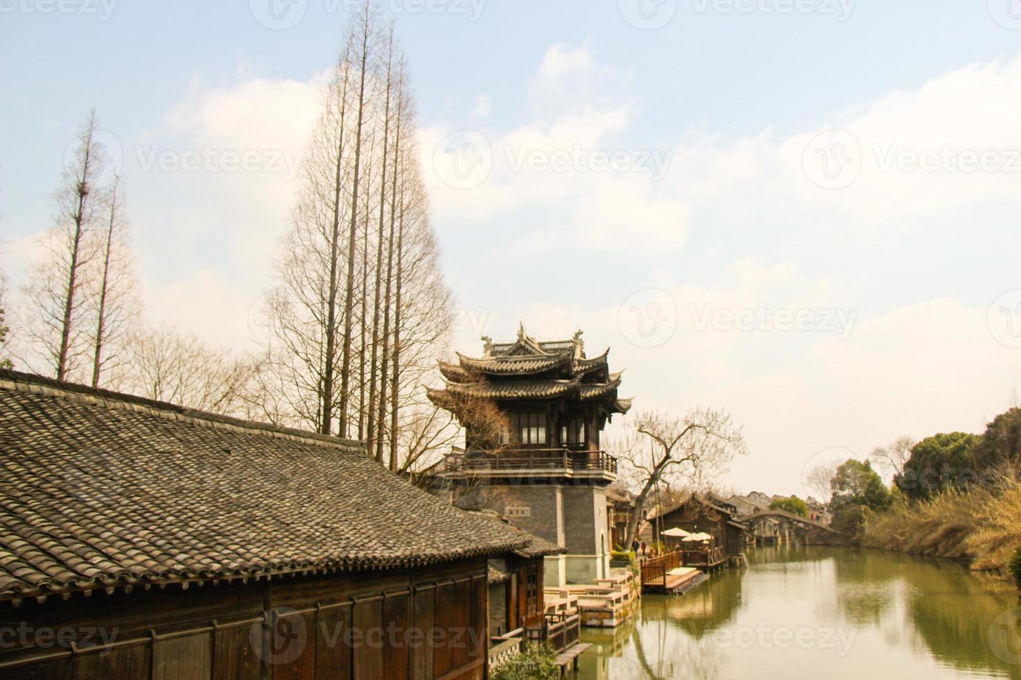 el paisaje wuzhen, ciudad antigua china foto