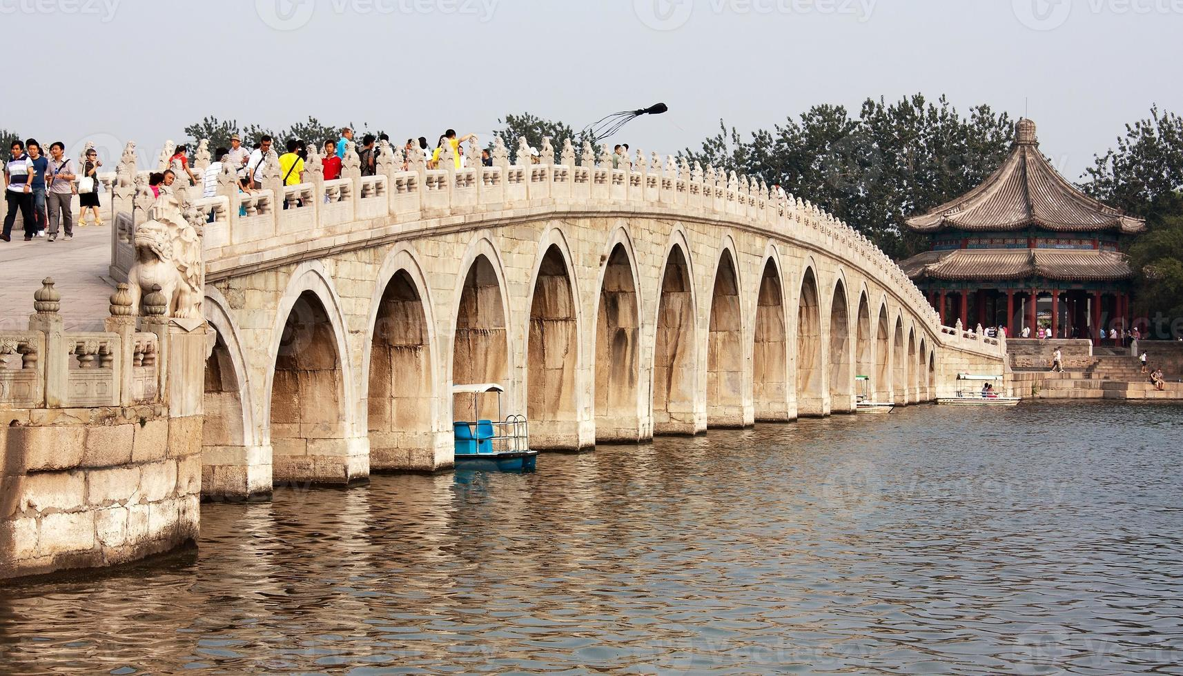 vista desde el palacio de verano con hermoso puente foto