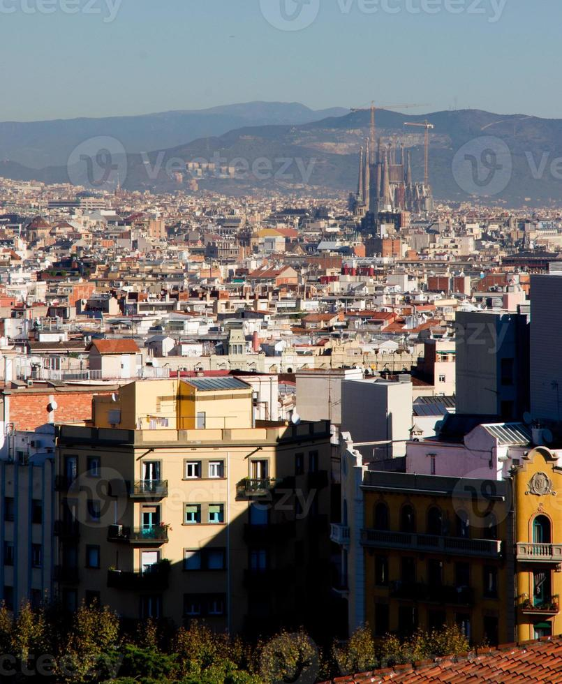 Aerial view over Barcelona photo