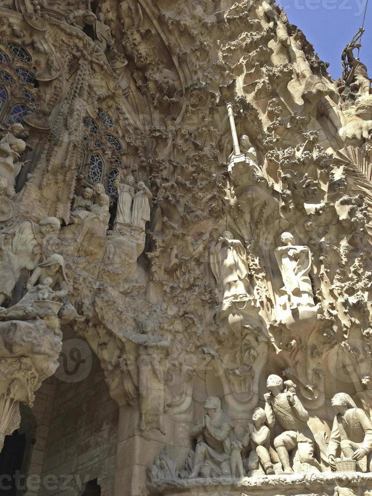 Detalle de la fachada de la Sagrada Familia, Barcelona foto