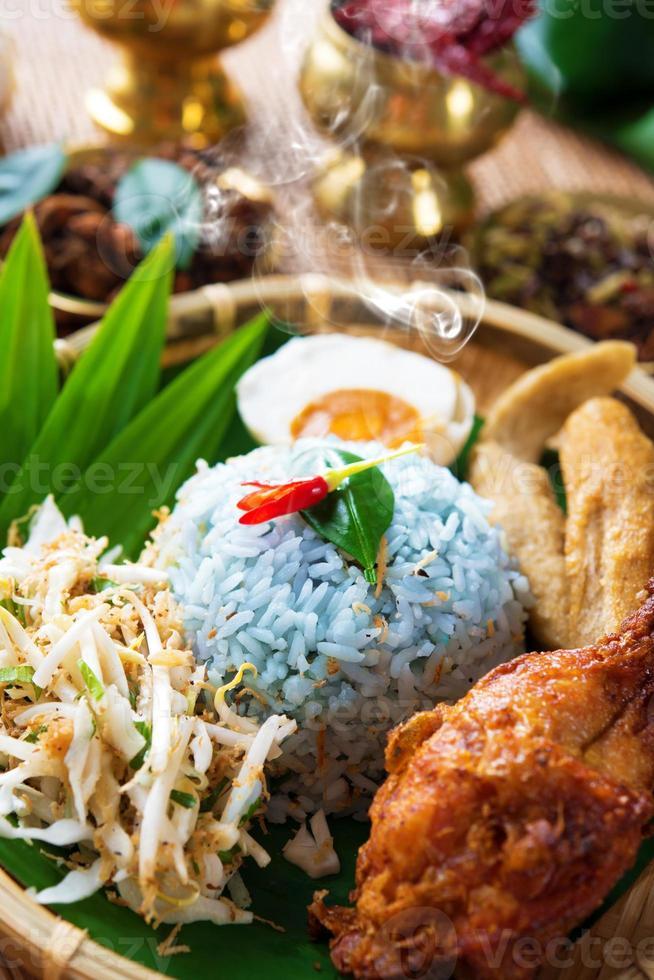Traditional Malaysian food nasi kerabu photo