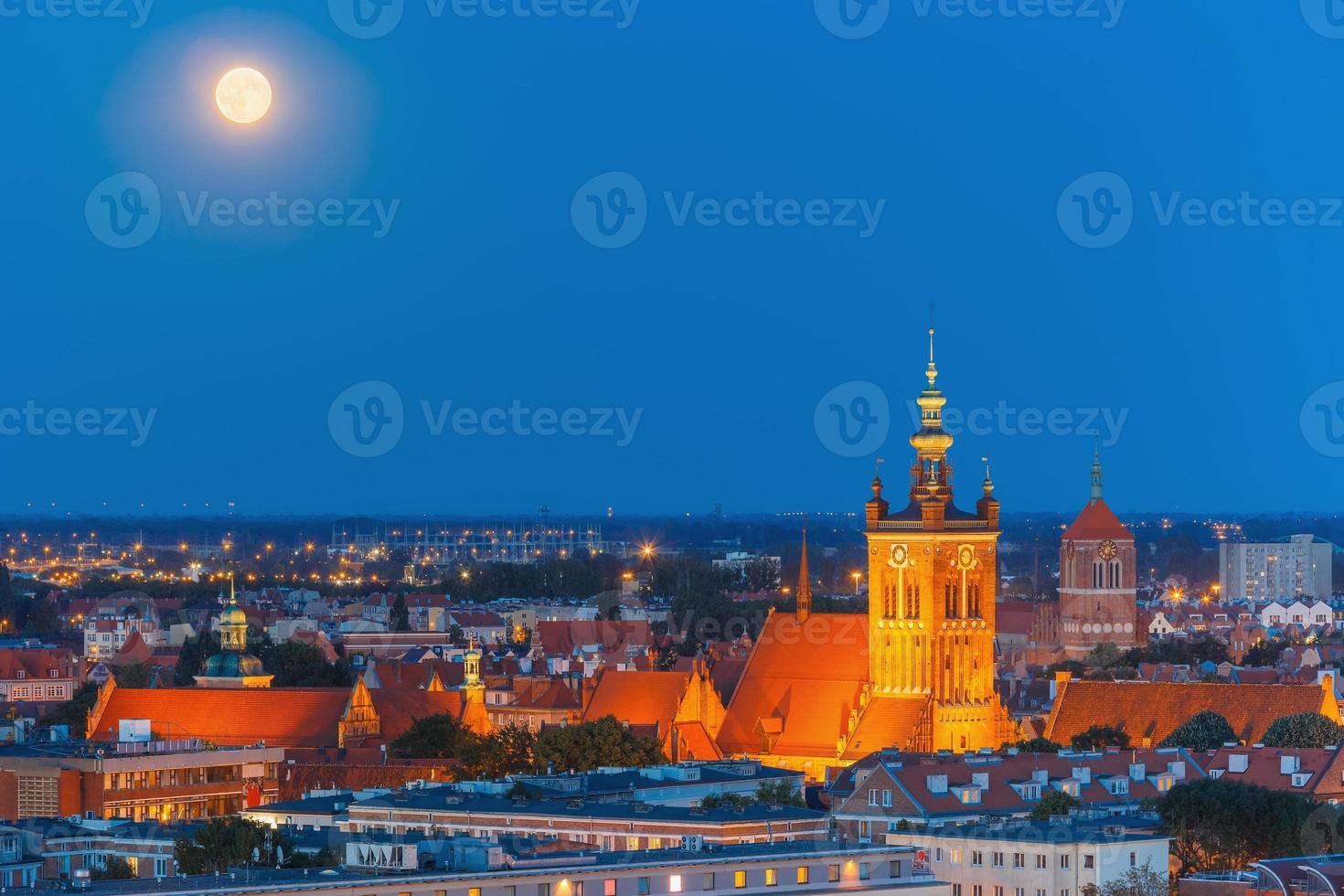 Church of Saint Catherine at night, Gdansk, Poland photo