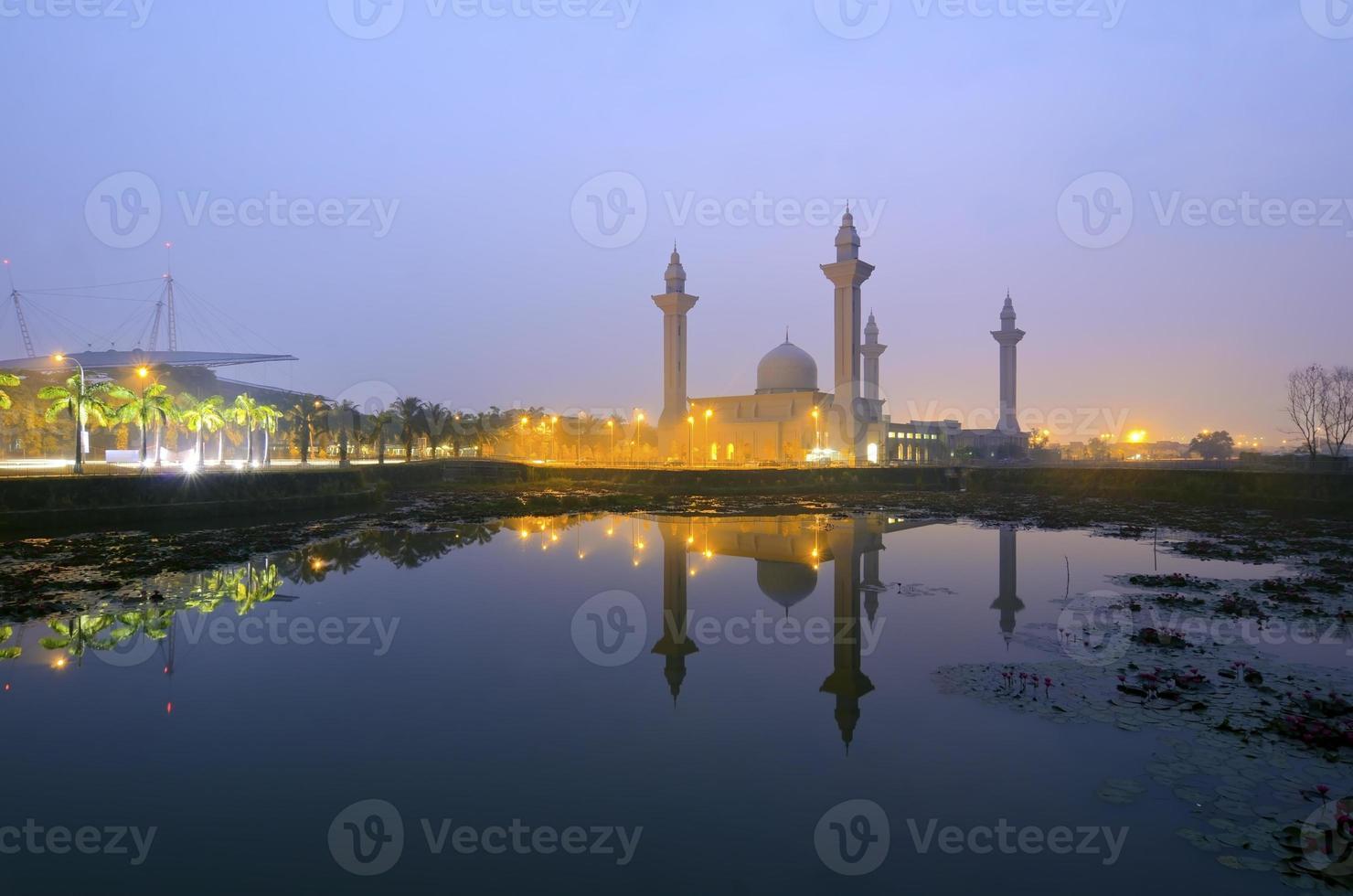 The Tengku Ampuan Jemaah Mosque, Bukit Jelutong, Malaysia mosque at sunrise. photo
