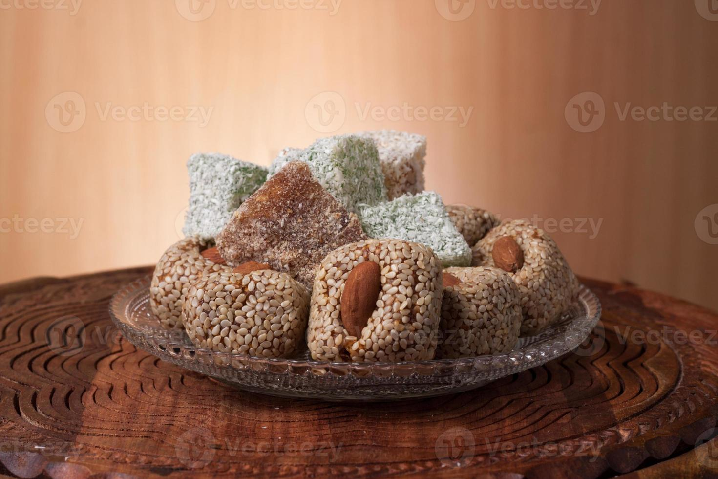Arrangement of fig and turkish delight photo