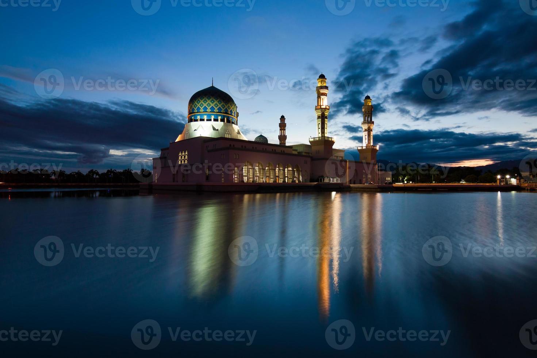 Kota Kinabalu mosque at dawn in Sabah, East Malaysia, Borneo photo