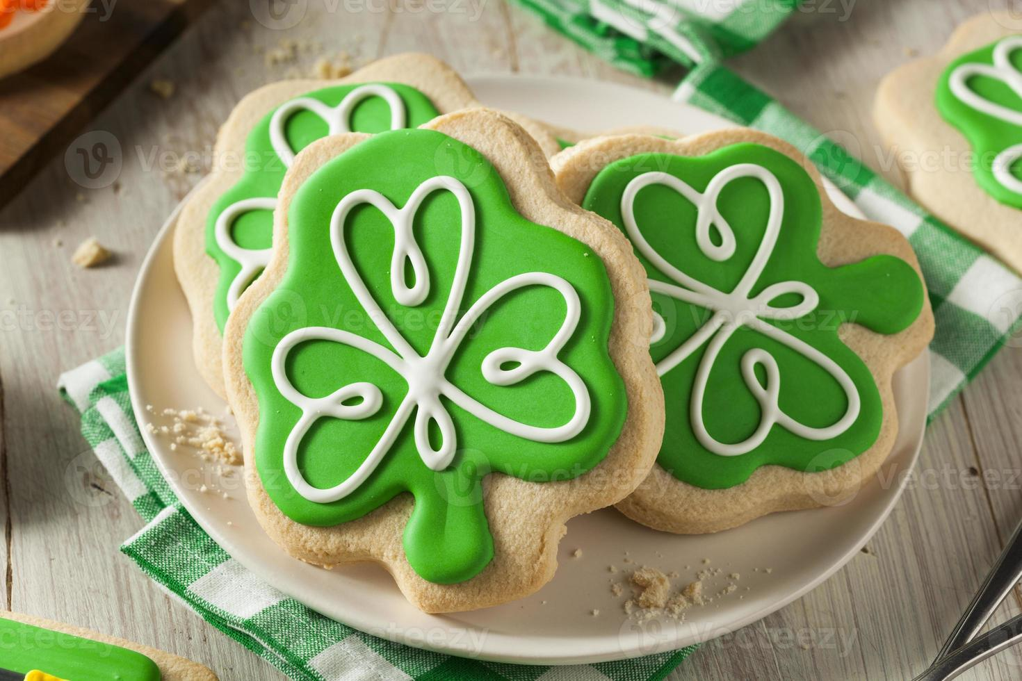 Green Clover St Patricks Day Cookies photo