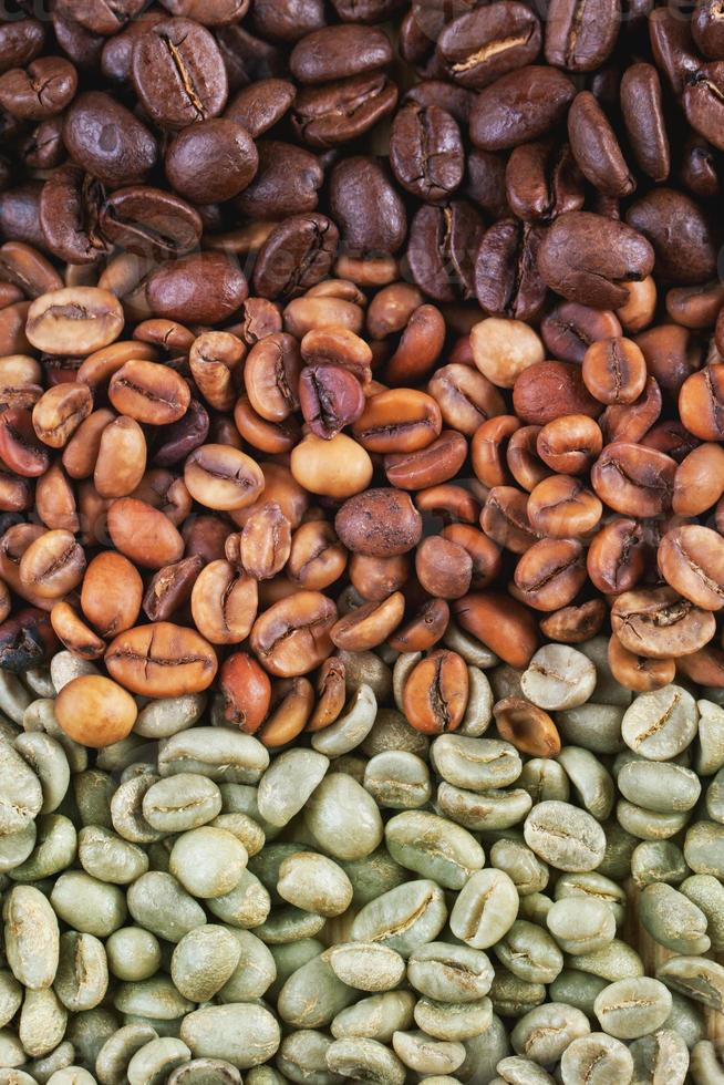 Green and brown coffee beans photo