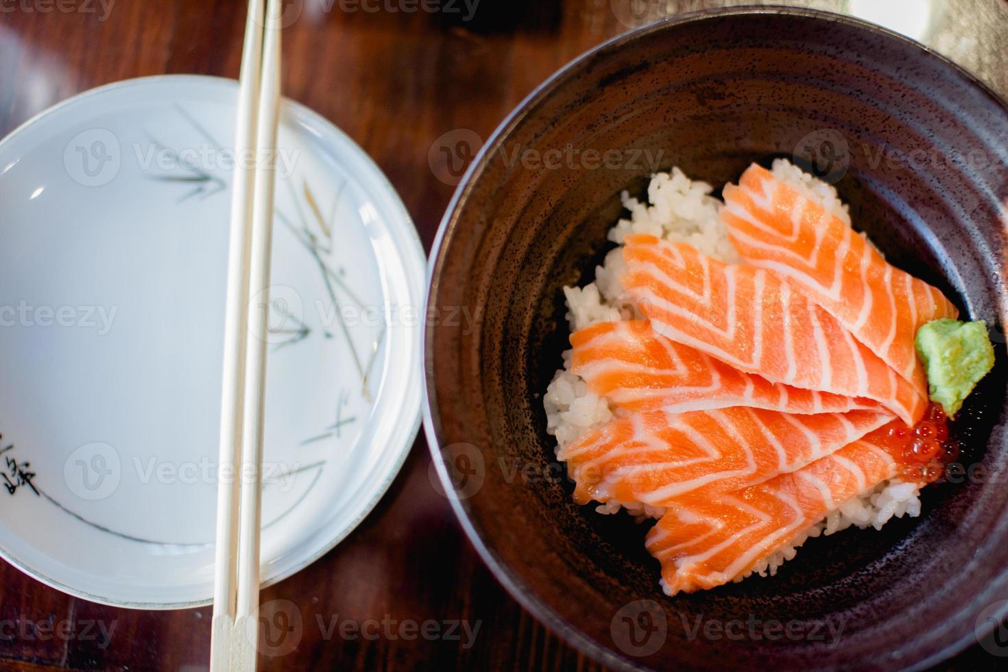 salmon rice bowl photo