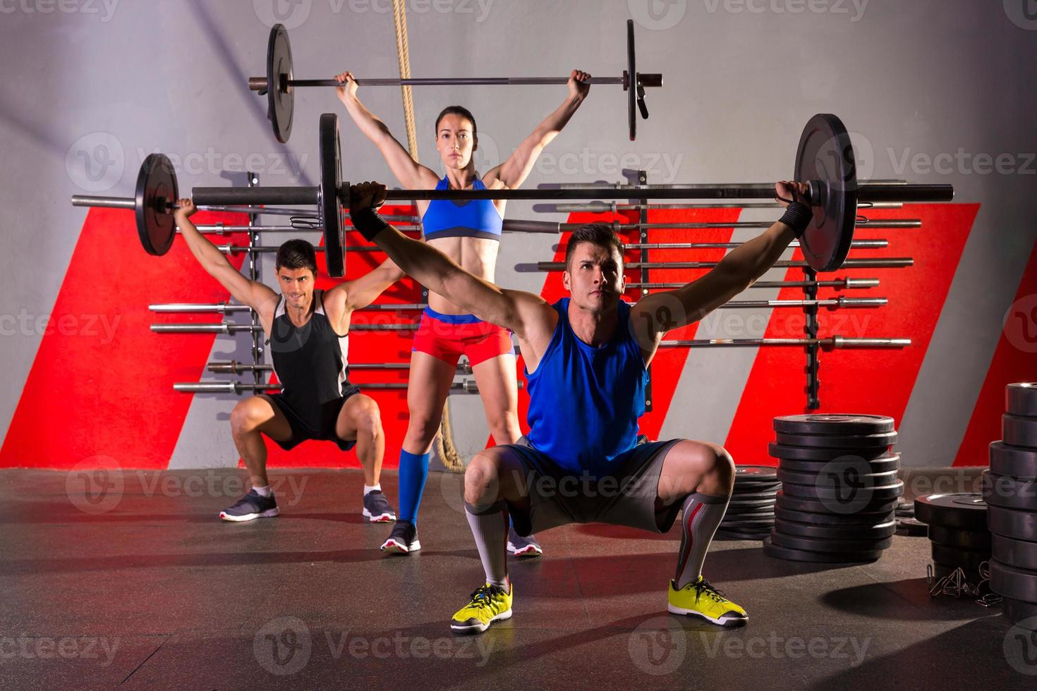 Barbell weight lifting group workout exercise gym photo