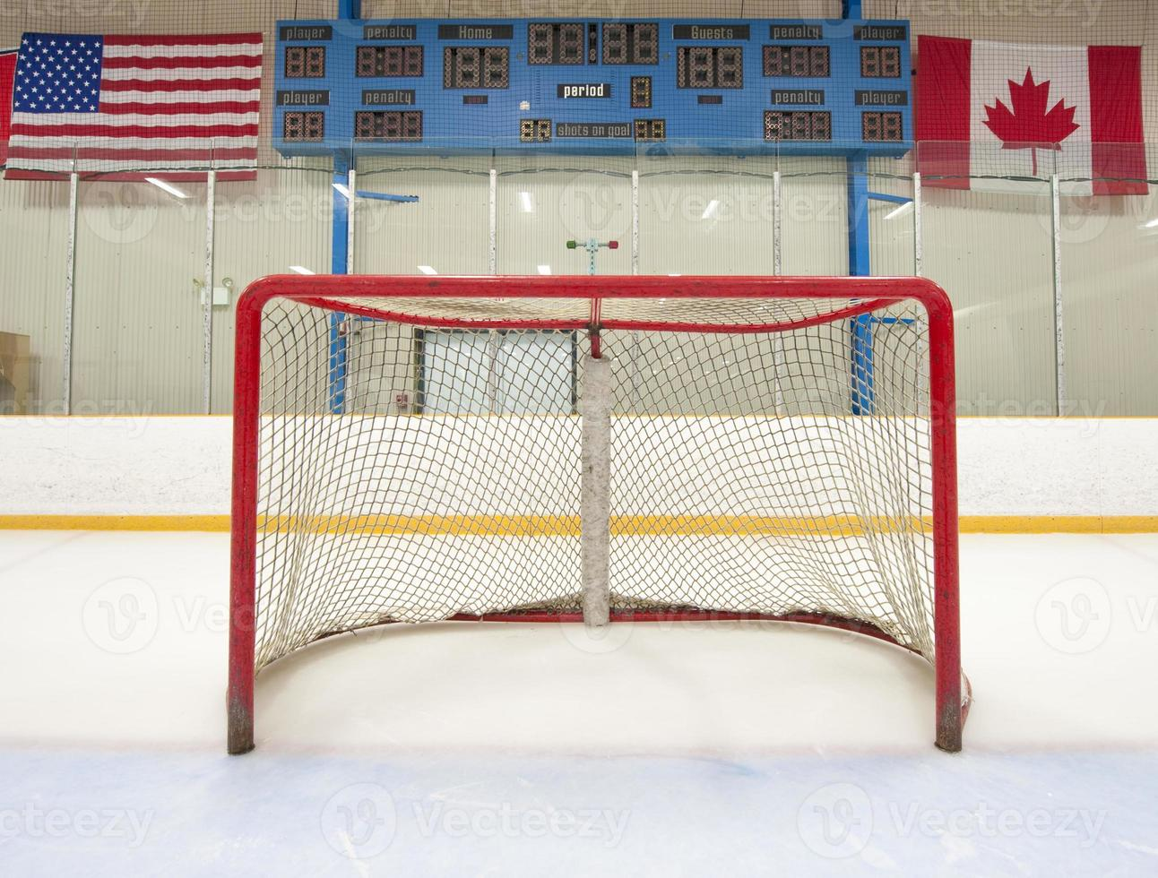 Hockey net with scoreboard photo