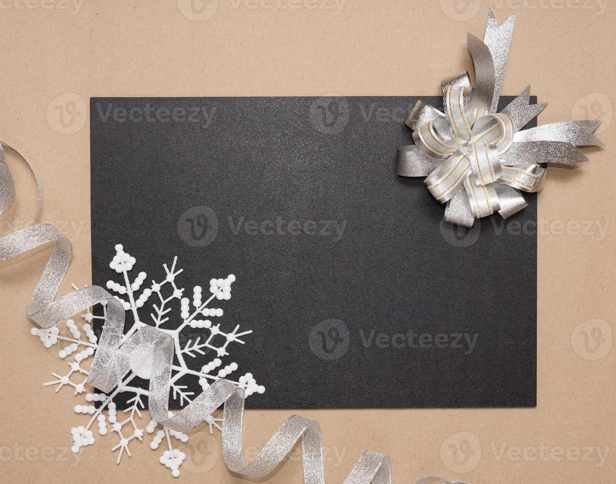 Winter frame with silver bow photo
