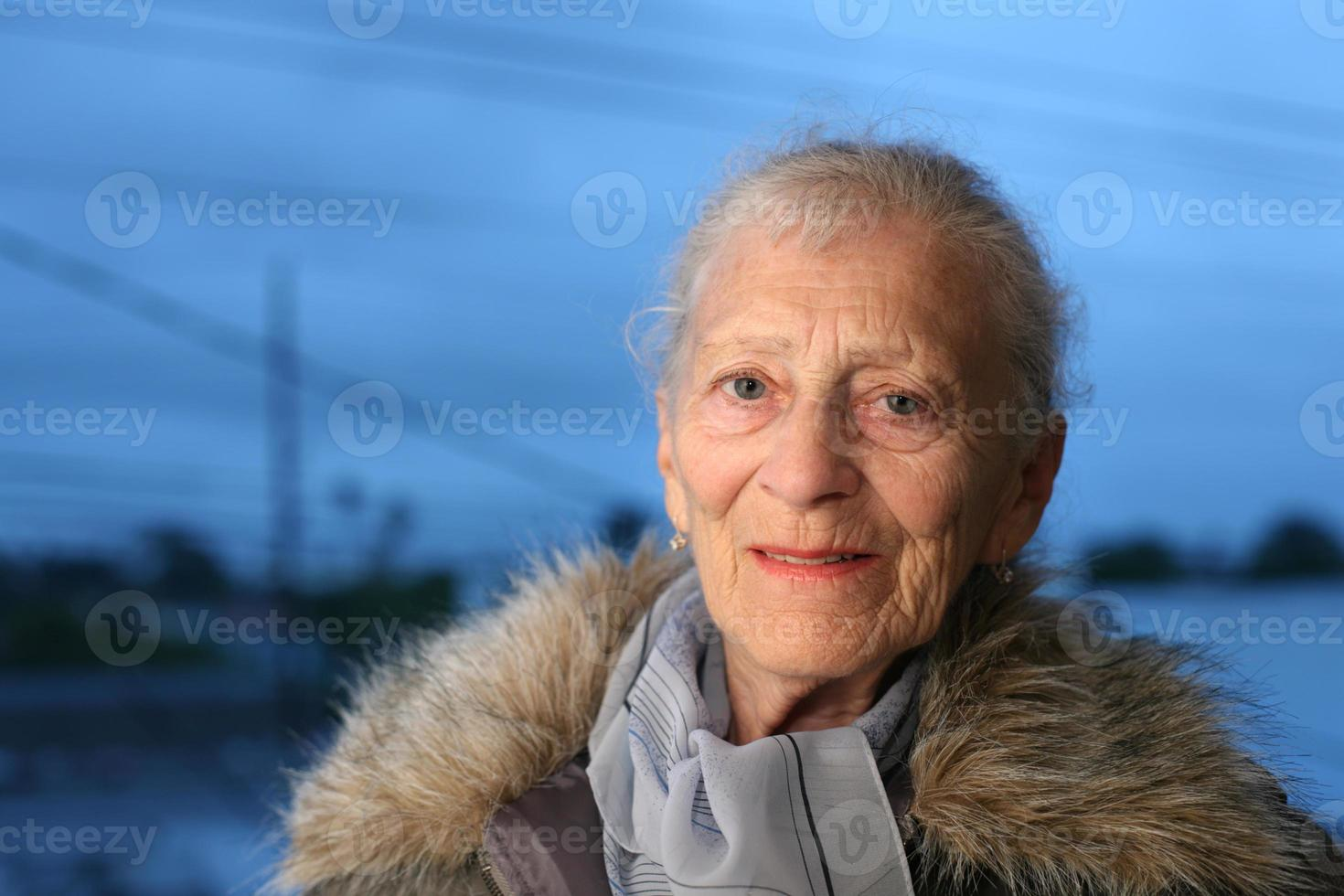 Senior lady at winter photo