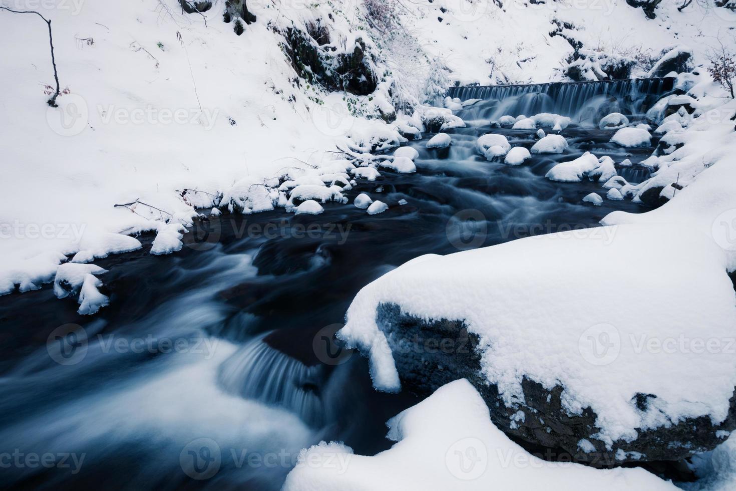 Winter forest creek photo