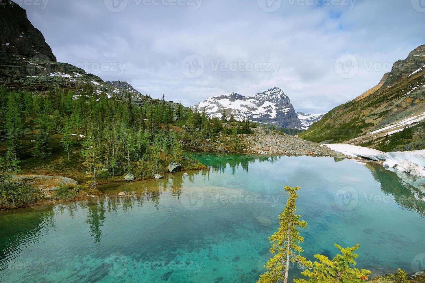 pequeño lago verde en el lago oesa trail foto