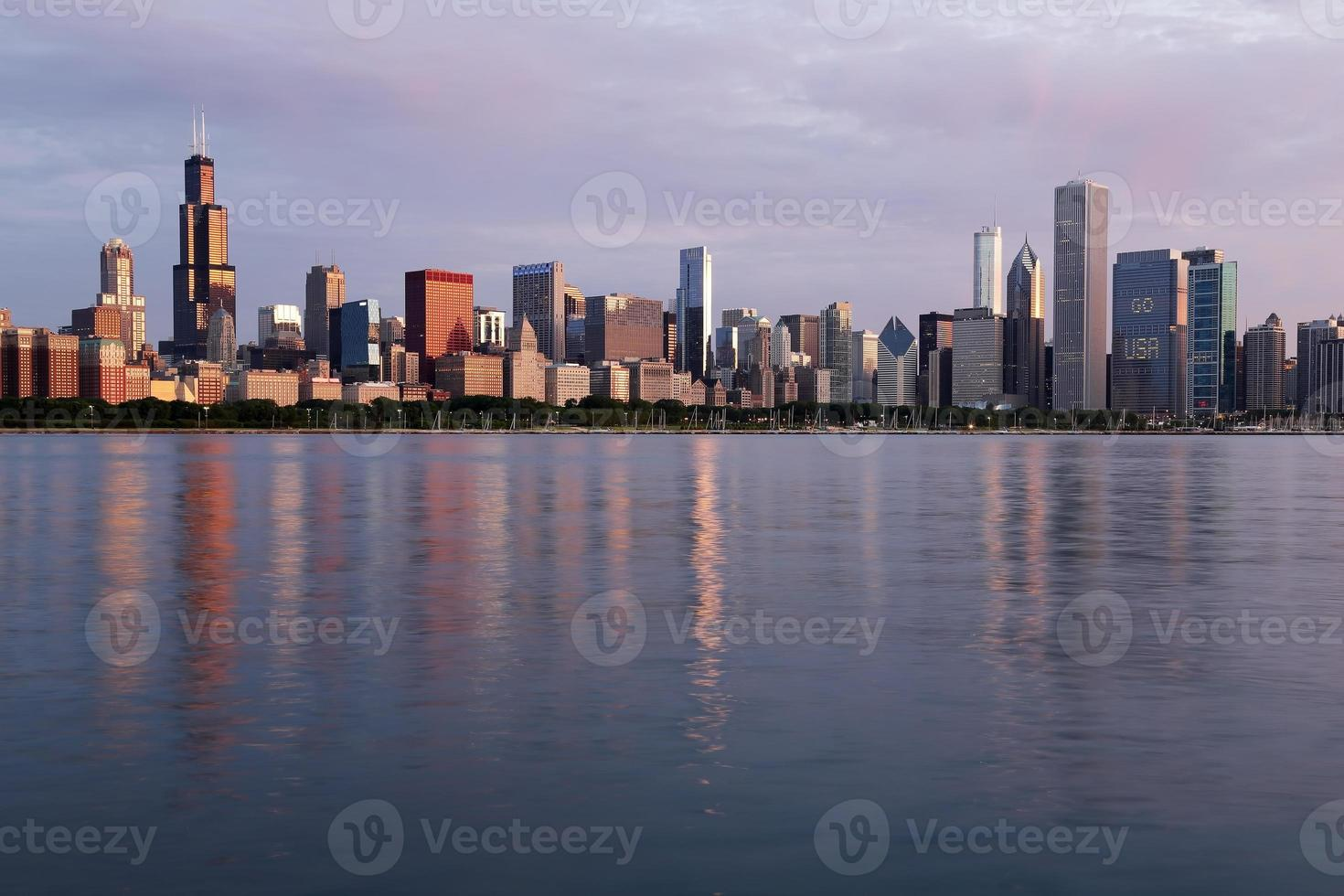 Morning view of the Chicago Skyline, Illinois photo