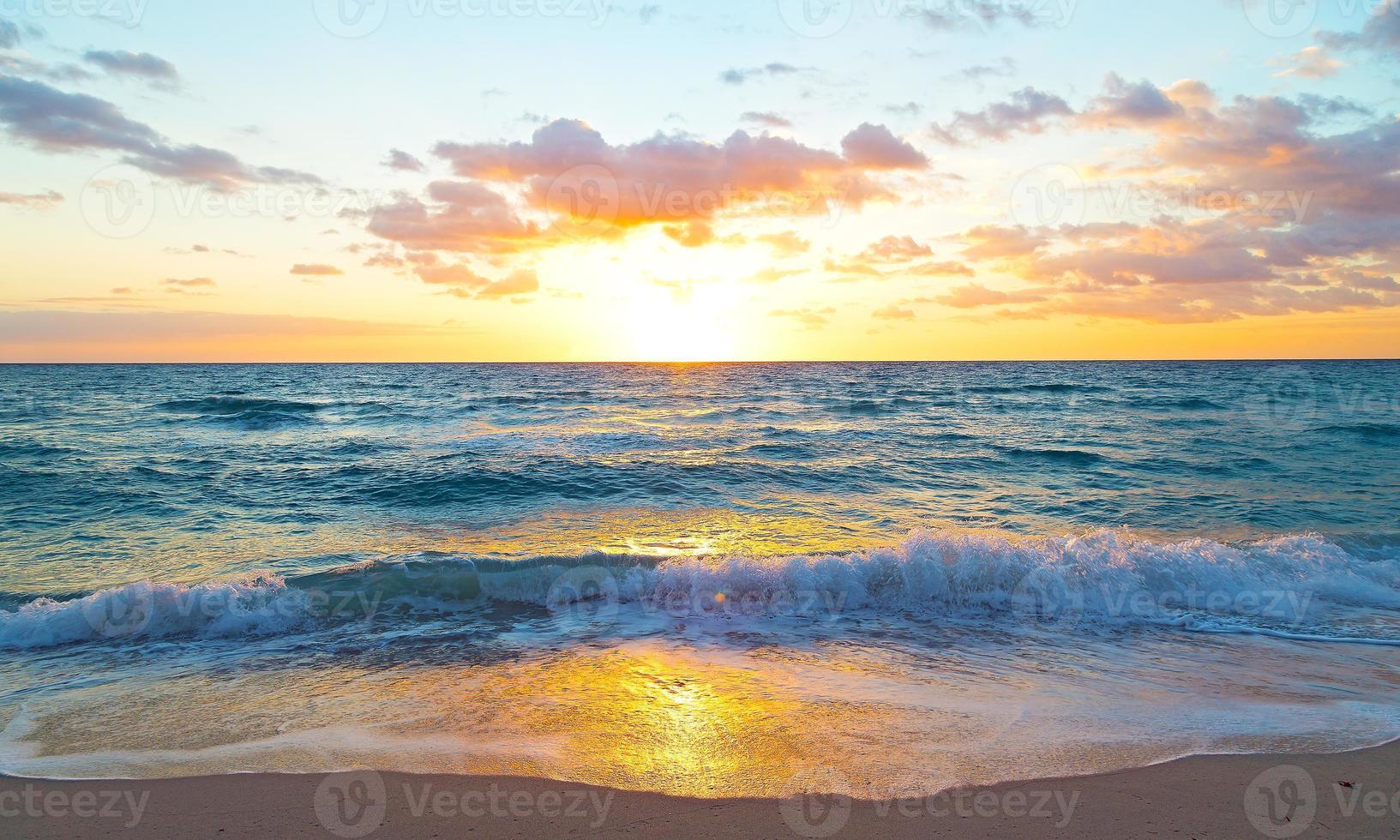 Sunrise over the ocean in Miami Beach, Florida. photo