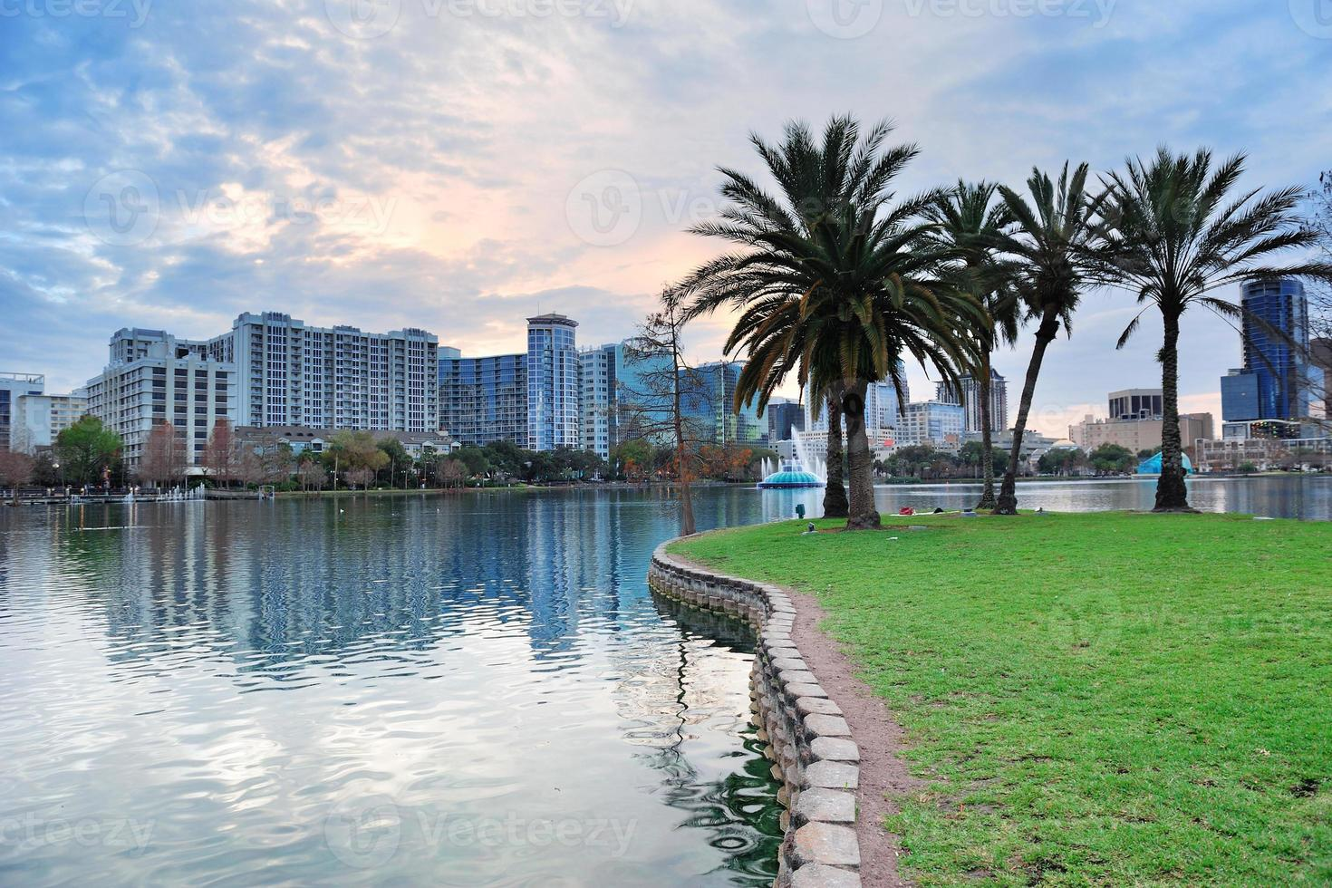 Orlando sunset over Lake Eola photo