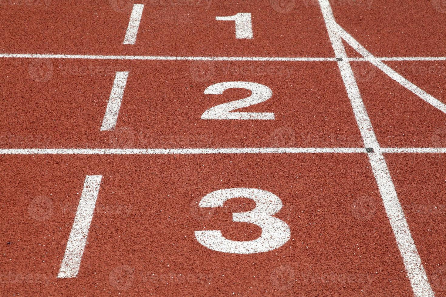 número 1 2 y 3 de la pista de carreras foto