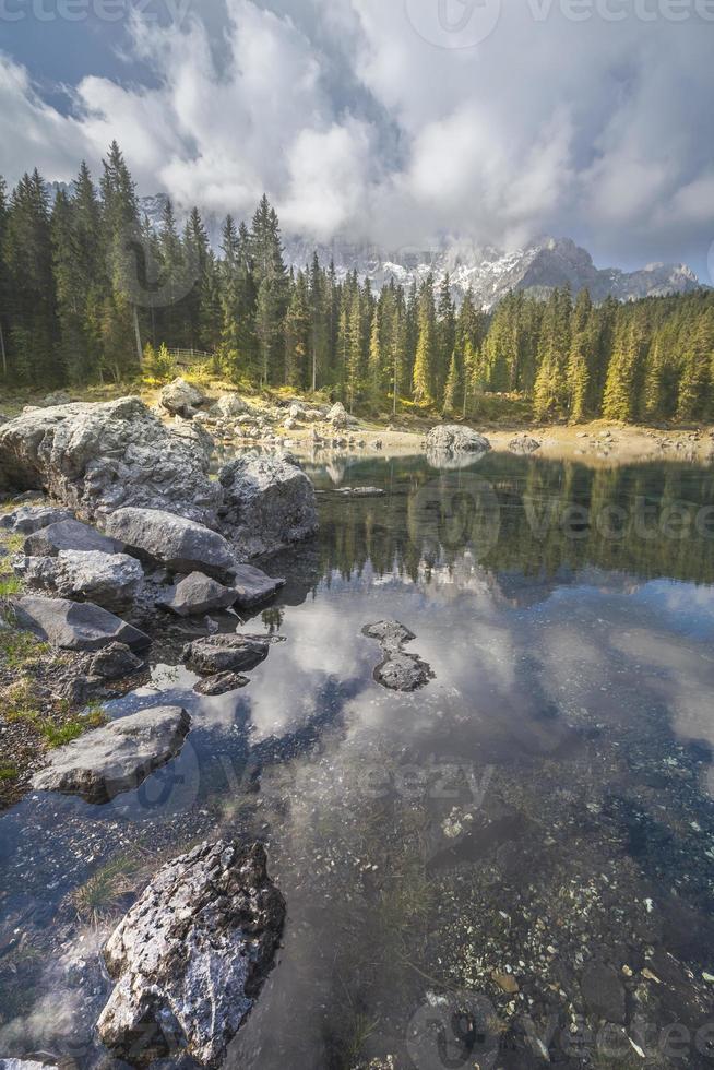 lake carezza dolomites photo