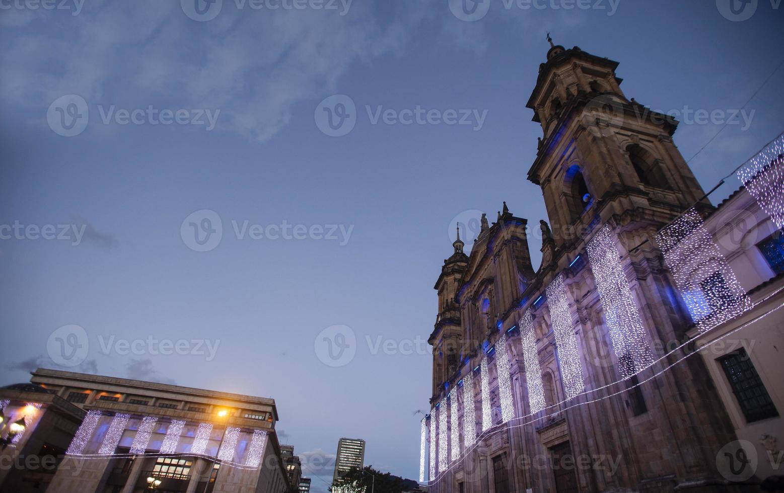 bogota cathedral facade night photo