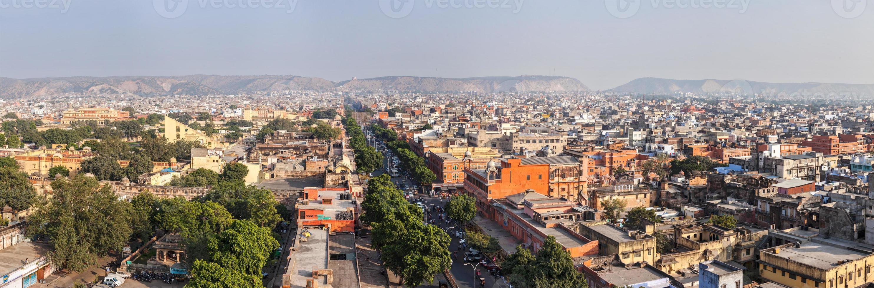 Panorama de Jaipur vista aérea Rajastán, India foto