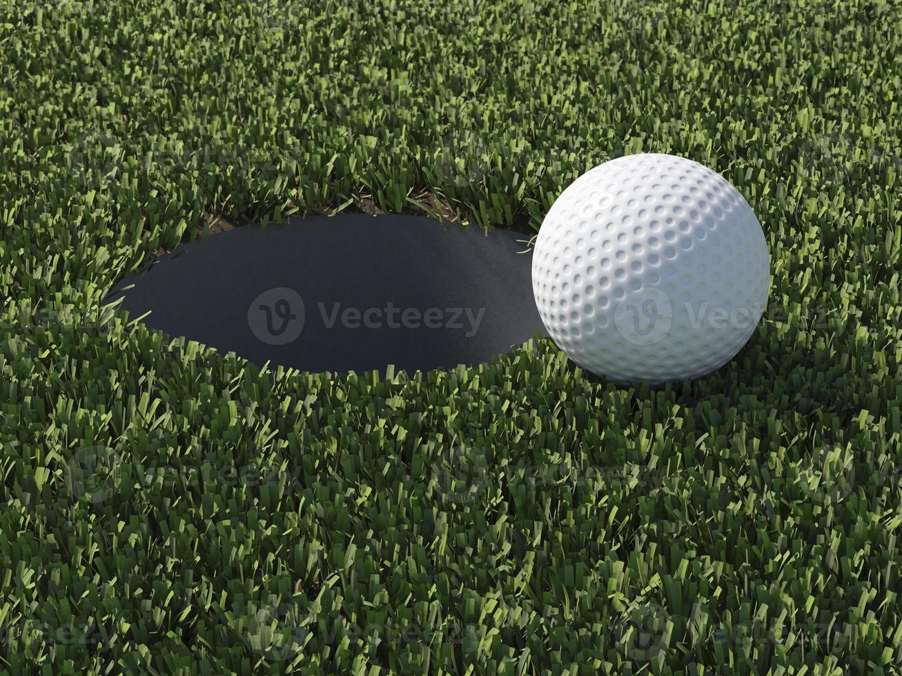 Pelota de golf 3D en el borde del hoyo foto
