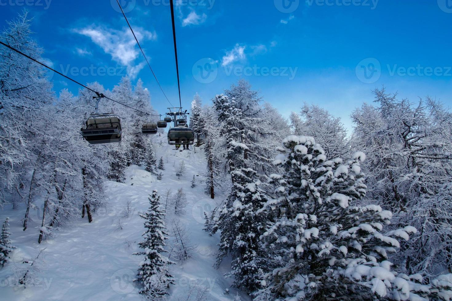 Ski lift in French Alps photo