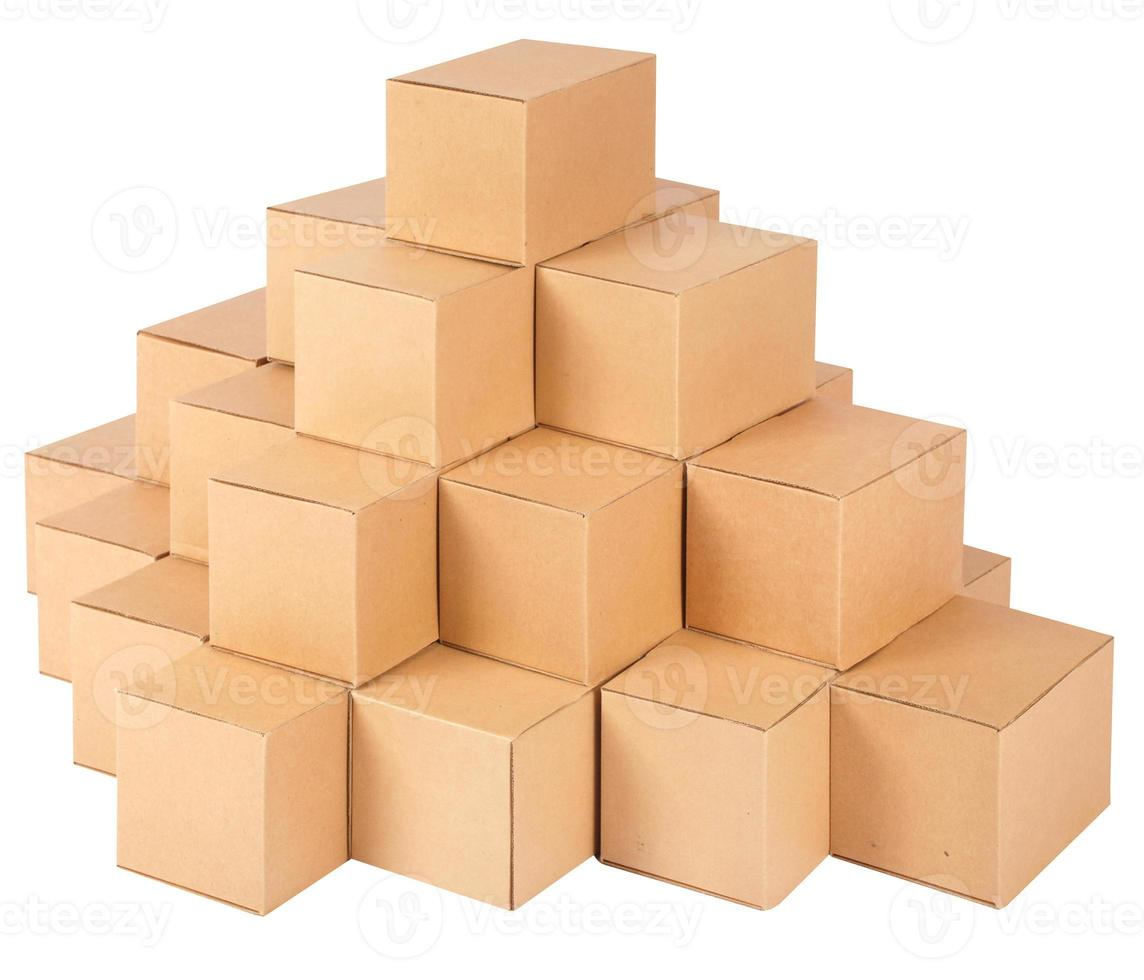 Cardboard boxes.Pyramid from boxes photo
