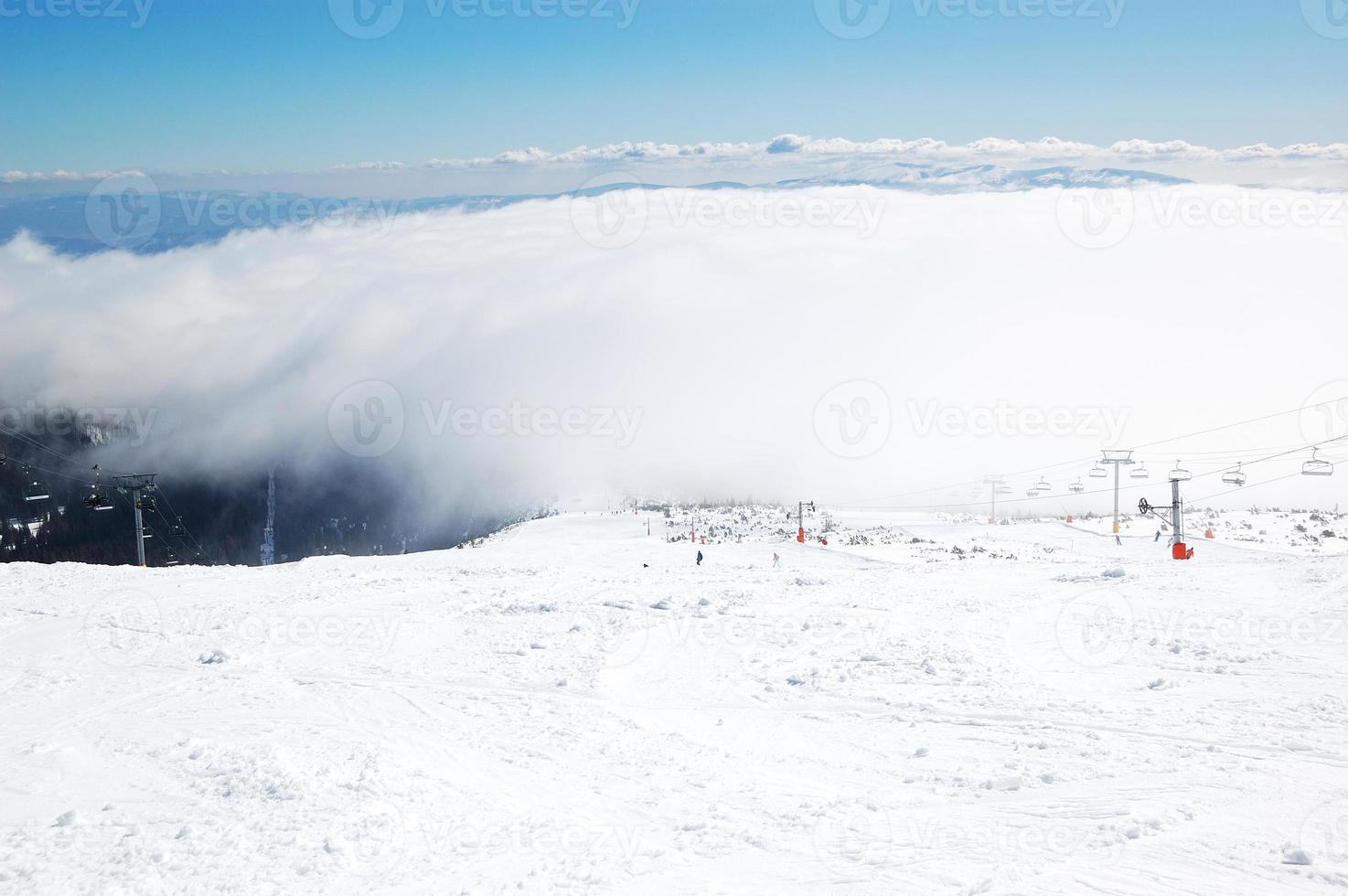 The slope in Strbske Pleso ski resort, High Tatras, Slovakia photo