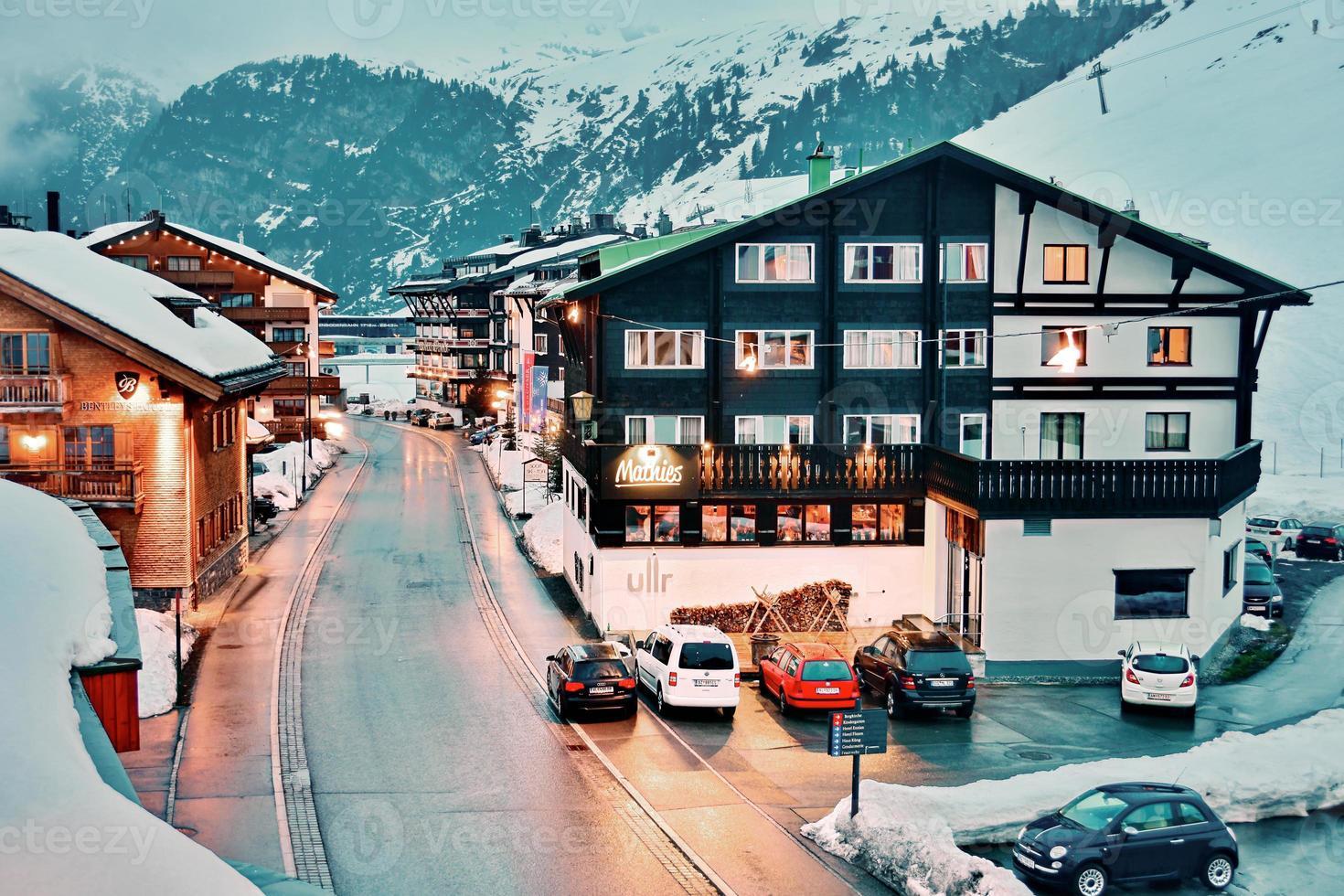 Everning in Zurs ski resort photo