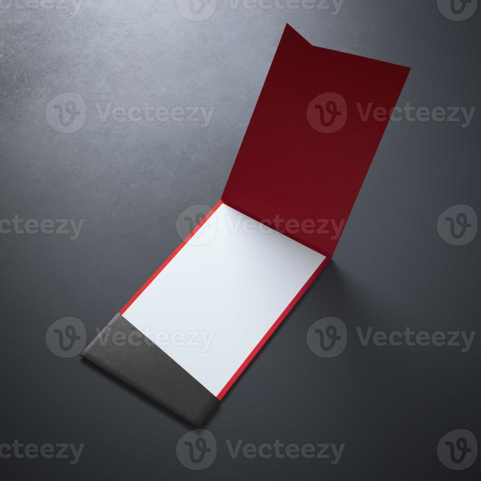 Wite business card inside of red photo