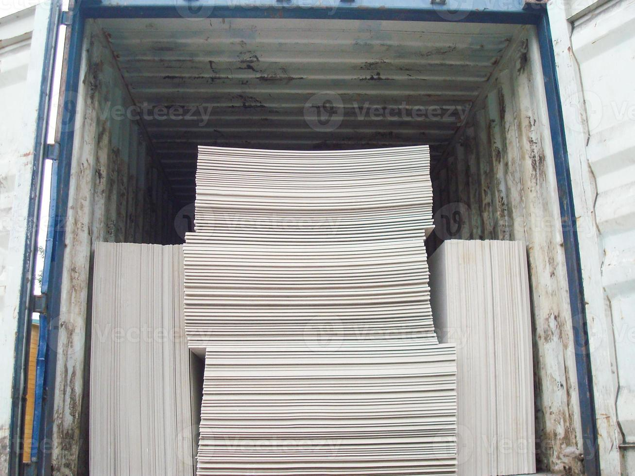 Open Shipping Container with Cargo Inside photo