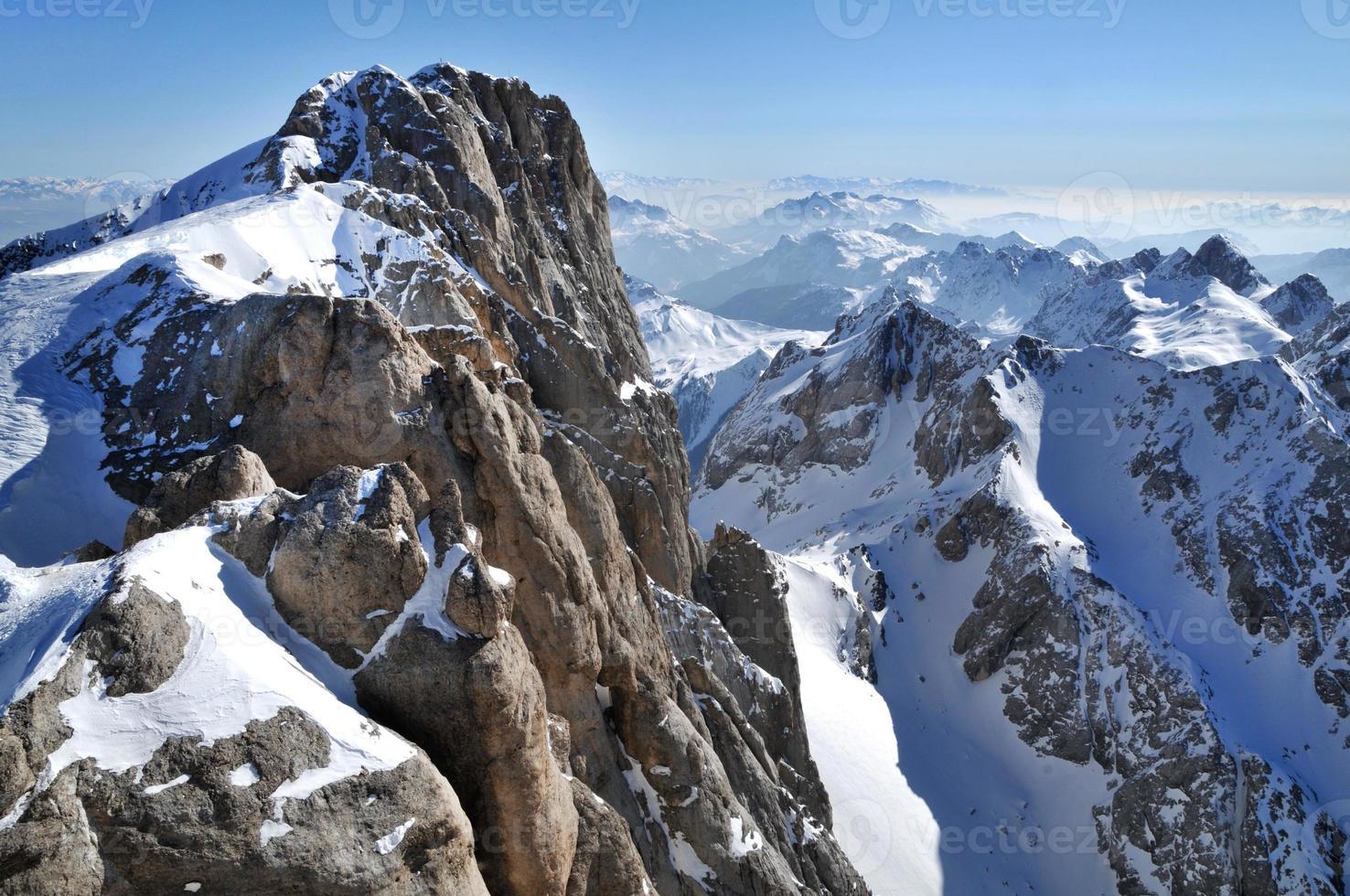 Winter ski resort in the Dolomites photo