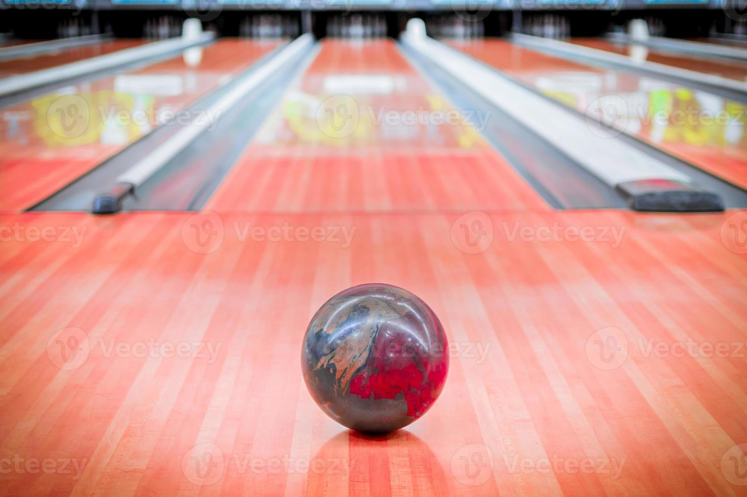 Ball brown on bowling alley. photo