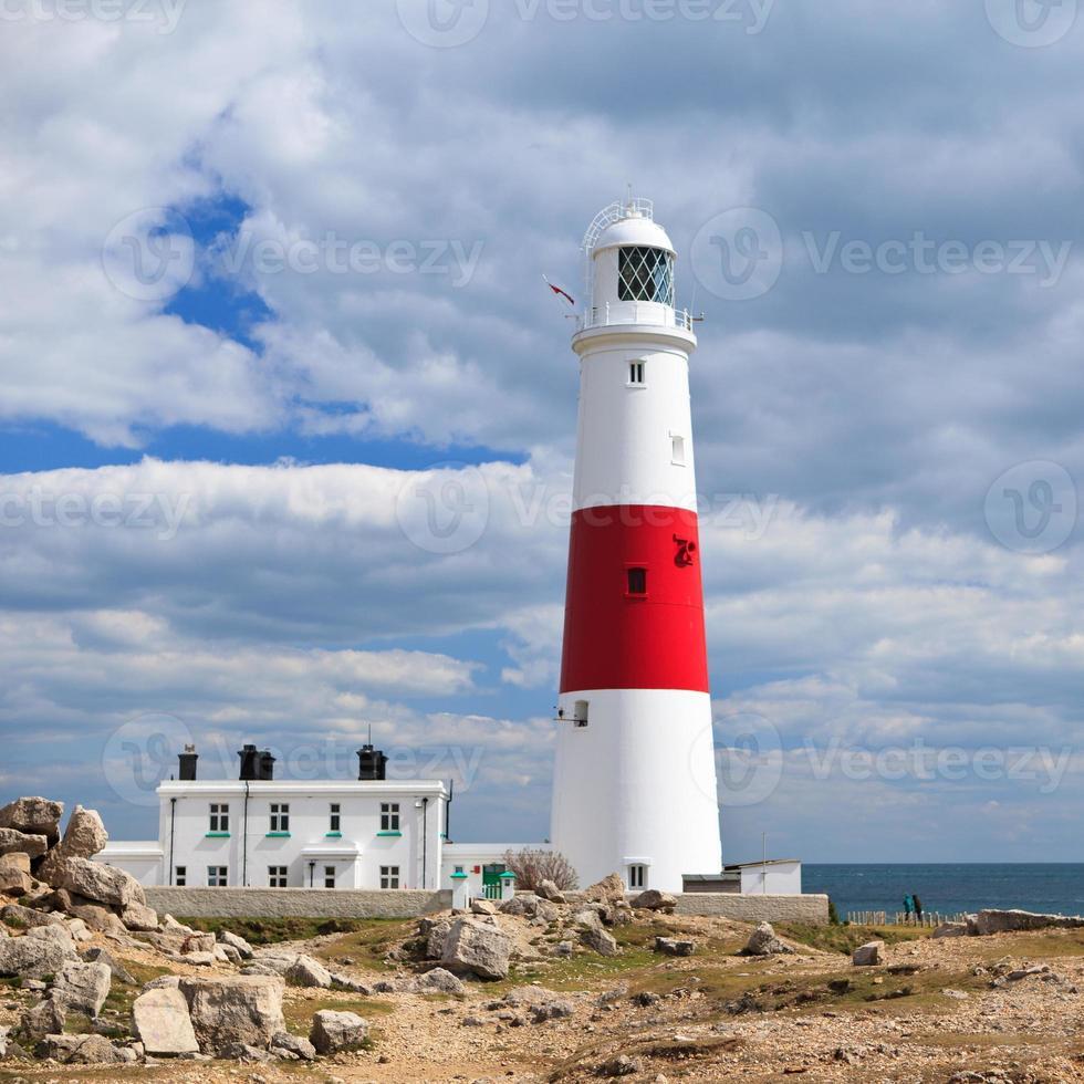 Lighthouse in Portland coast, UK photo