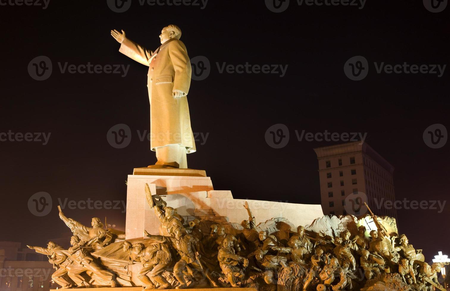 Mao Statue With Heroes Zhongshan Square Shenyang China Night photo