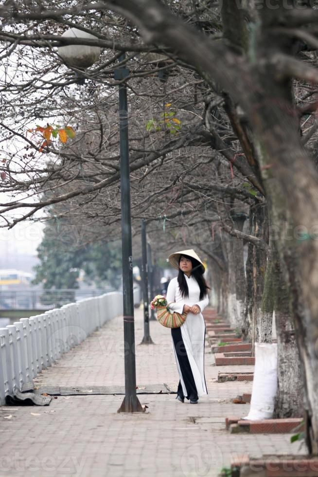 The girl in vietnamese traditional dress walking on street side photo
