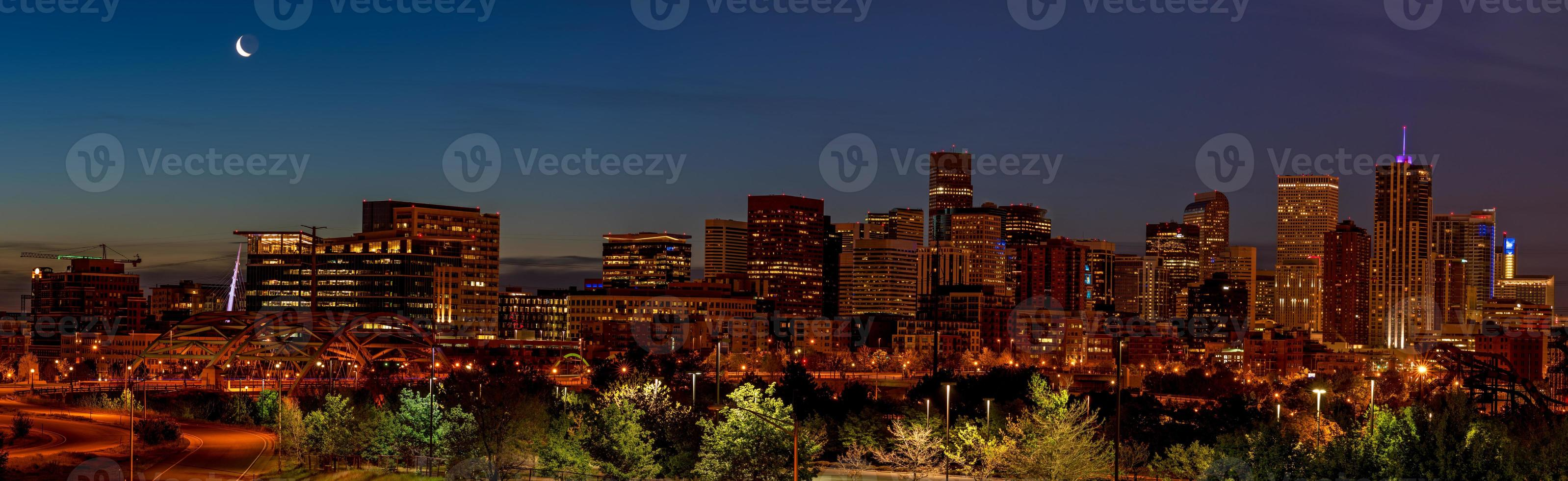 Unque view od the Denver skyline at night photo