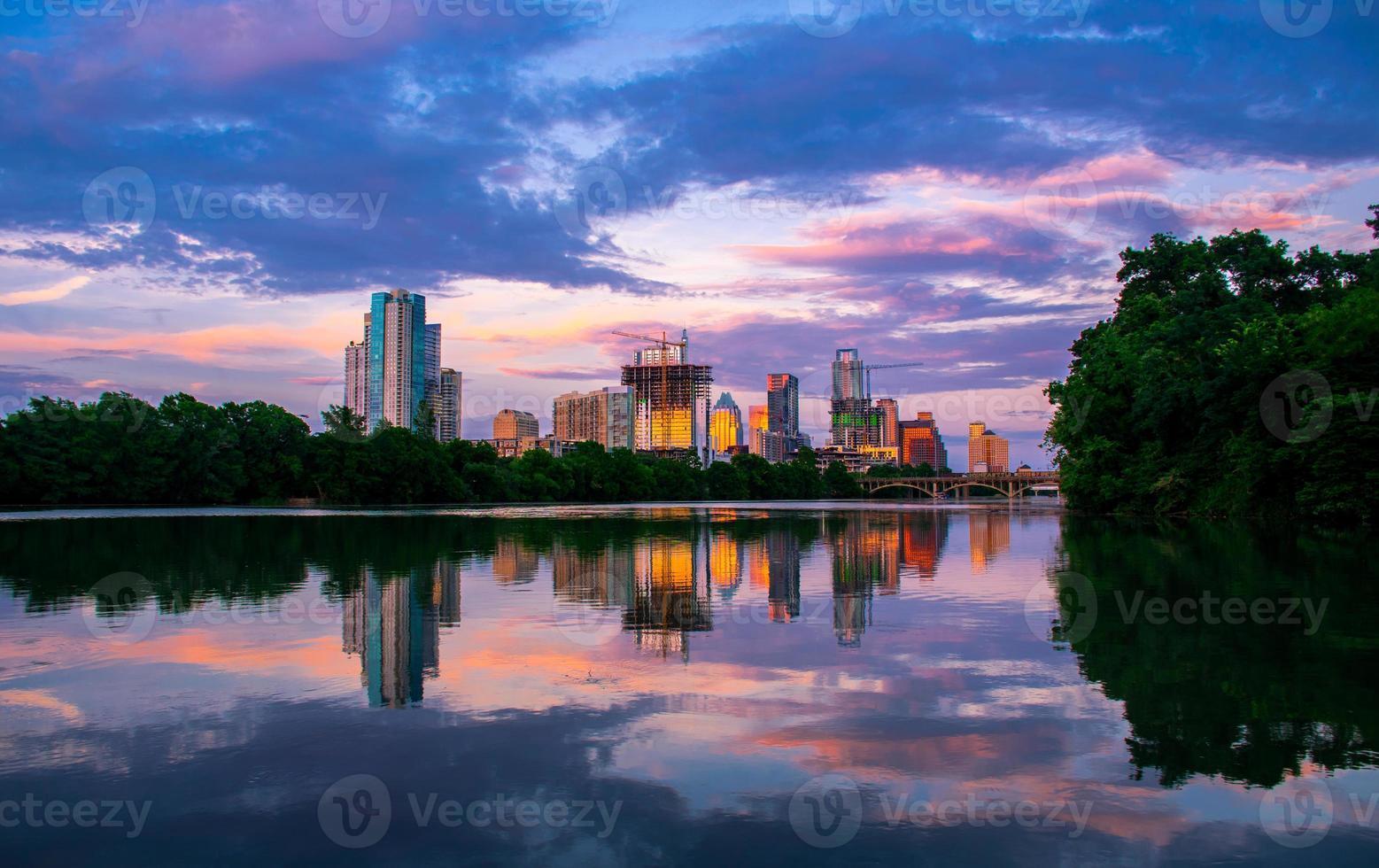 Austin Life Lou Neff Point Mirror Reflection Sunset 2015 photo