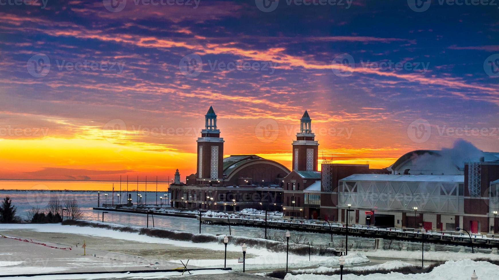 Navy Pier at sunrise photo