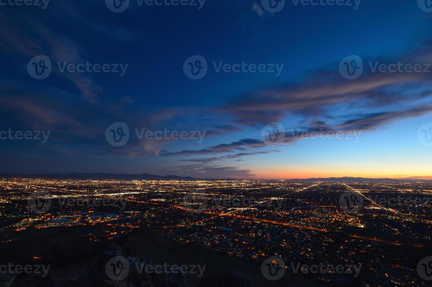 Phoenix city lights at dusk photo