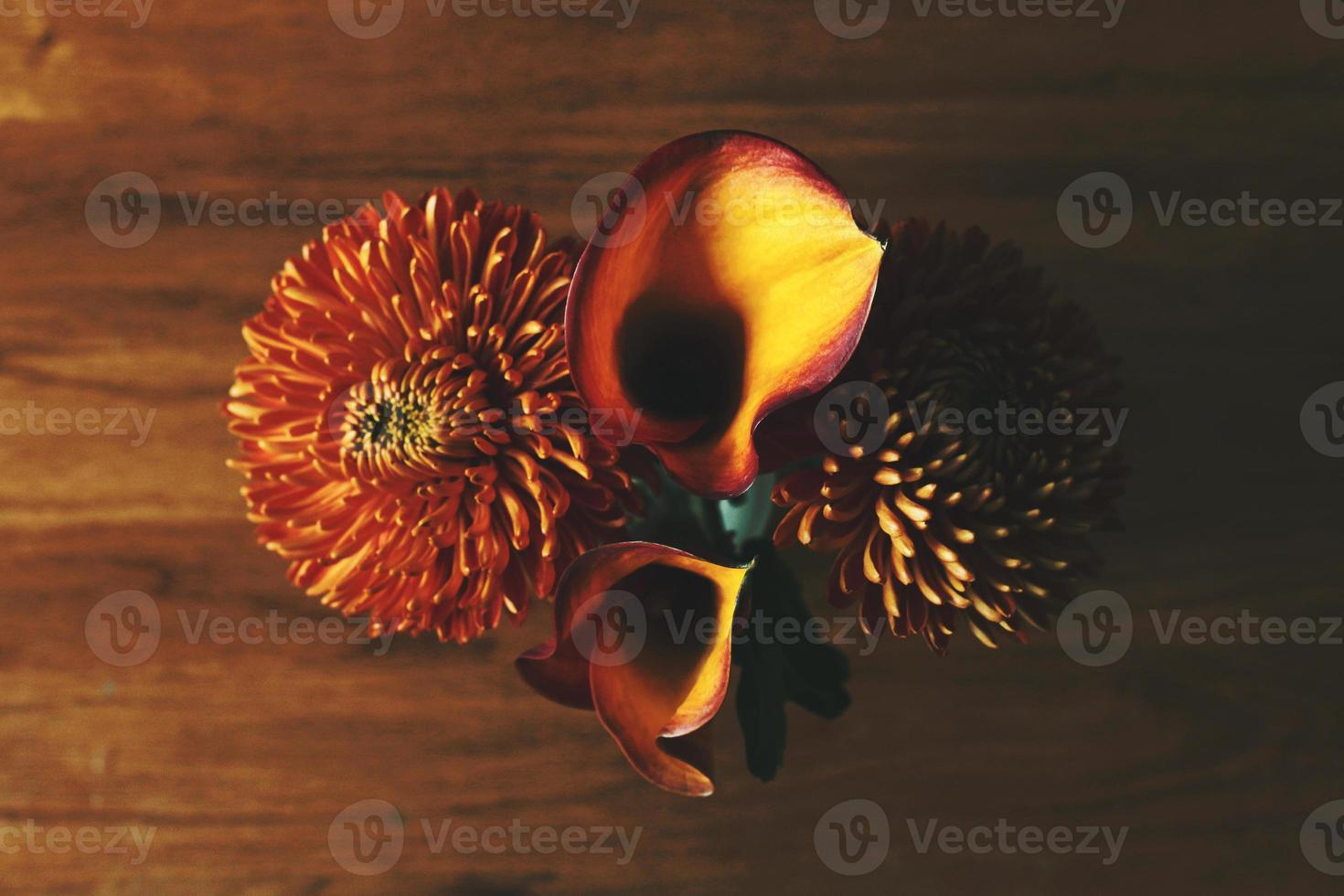 Chrysanthemums and Calla Lily Flowers photo
