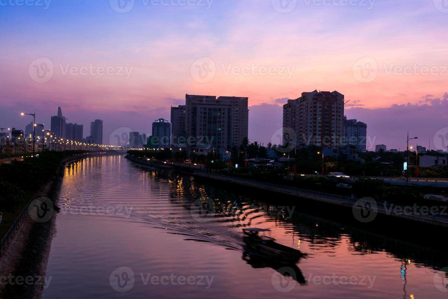 Sunrise time at Saigon Ho chimin photo